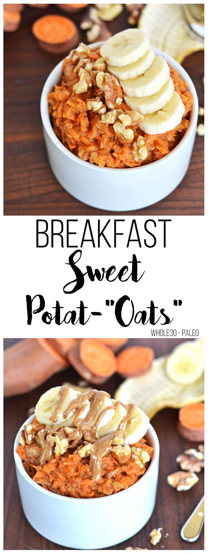 "Need a Grain free breakfast option that isn't eggs? These Breakfast Sweet Potat-""Oats"" are the perfect Whole30 & Paleo option to mix up your breakfast routine!"