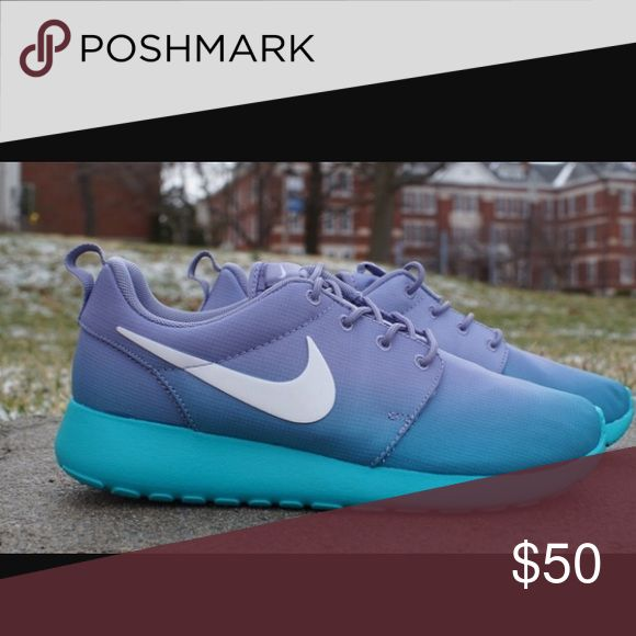 Blue and purple faded roshe run sneakers Nike sneakers in good condition. Very comfortable for everyday wear, not fit for long distance running Nike Shoes Sneakers