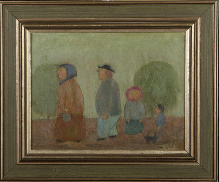 Nikolai Lehto: Perhe, 1980, öljy, 25x32 cm - Hagelstam A127