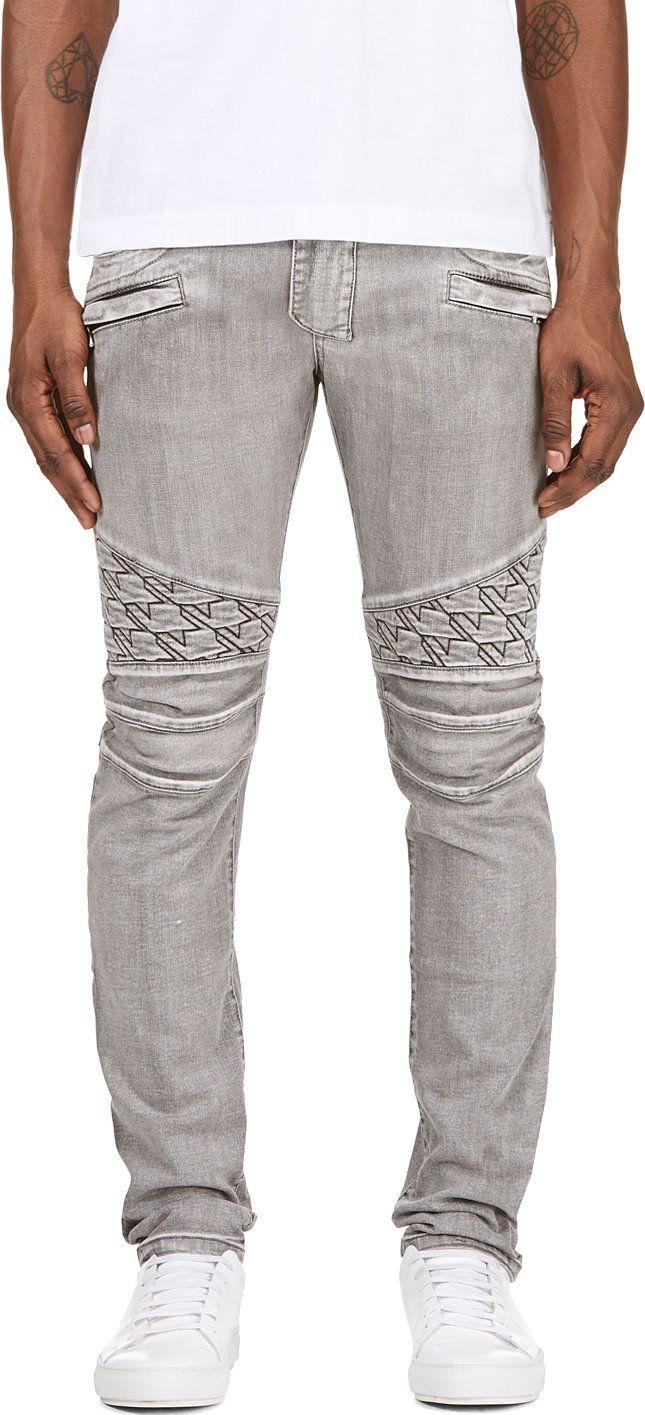 Balmain Grey Washed Biker Jeans Biker jeans, Denim