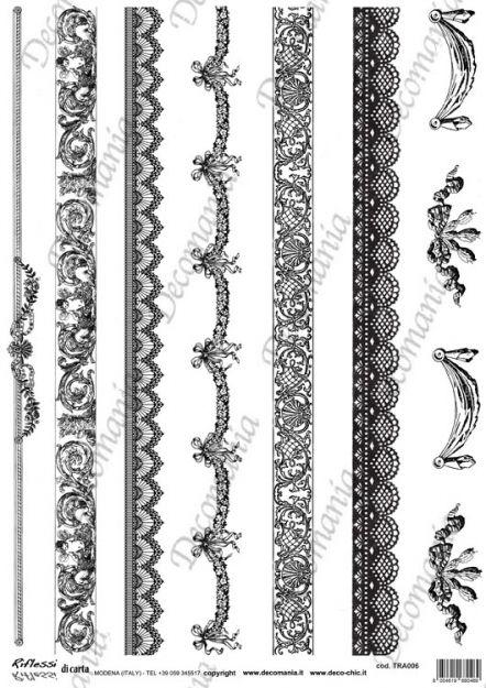 Codice: TRA006 Carta con disegni in bianco e nero ideale per il trasferimento d'immagine con l'utilizzo della soluzione DecoTRANSFERmania. DEC: LIQ125   Formato A3 ( 295x420 mm)  www.deco-chic.it