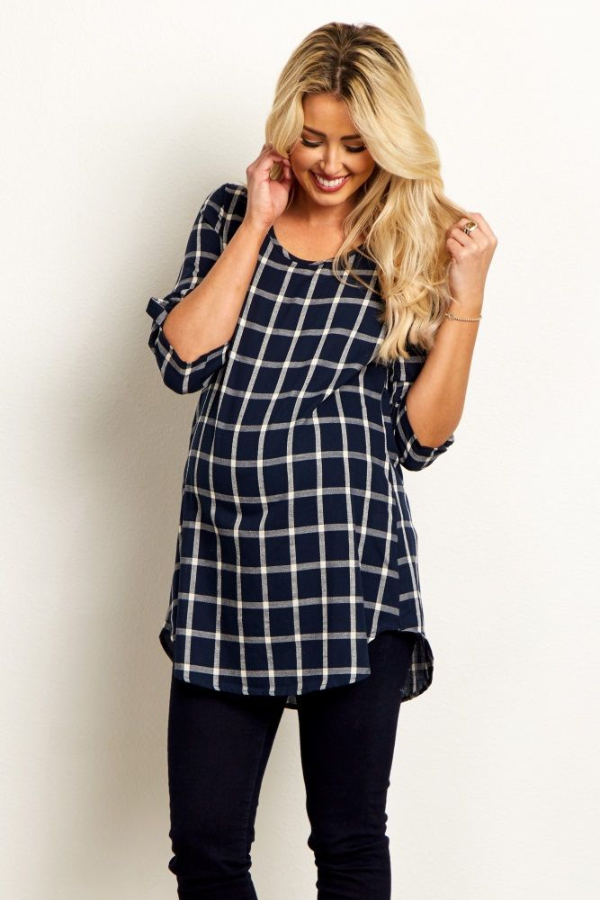 The most simply stylish look in your entire fall wardrobe, this modern plaid maternity tunic is ideal for this transition season with its lightweight fabric and classic shades. Dress it up with a statement necklace and booties for everyday.  Perfect for women's and maternity.