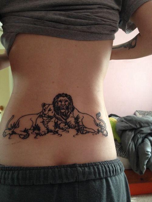 Image result for lower back lion tattoos