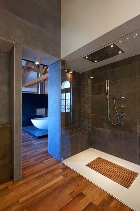 Look moderne et design d'une douche ouverte