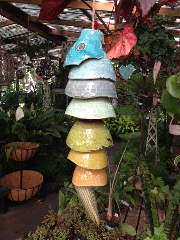 Pinch pot fish windchime ceramic wind vento for Fish wind chimes