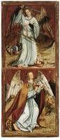 Master of Byzantine Madonna (Leipzig workshop): Michael & Uriel, left wing of an altar piece, Merseburg Cathedral, Treasury http://www.merseburger-dom.de/ausstellungen/domschatz/schatzkammer.html