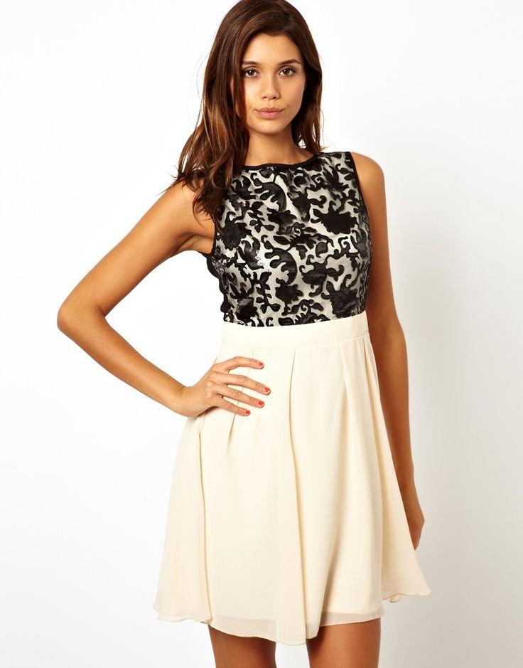 Cream dress with black lace waistband