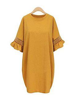 Γυναικεία Καθημερινά / Μεγάλα Μεγέθη Κομψό στυλ street Φαρδιά Φόρεμα,Μονόχρωμο ½ Μανίκι Στρογγυλή Λαιμόκοψη Ως το Γόνατο Μαύρο / Κίτρινο