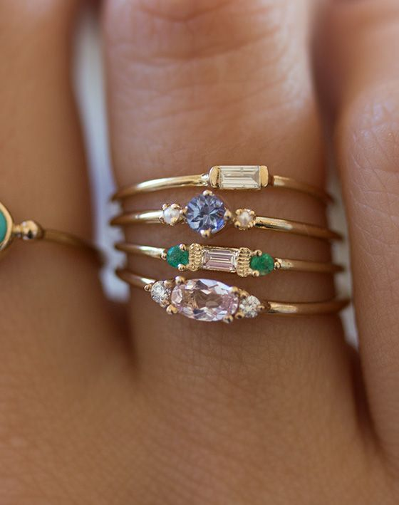 Stacking dainty rings