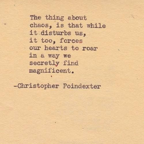 """Look for the silver lining in everything: """"The thing about chaos, is that while it disturbs us, it too, forces our hearts to roar in a way we secretly find magnificent."""" -- Christopher Poindexter"""