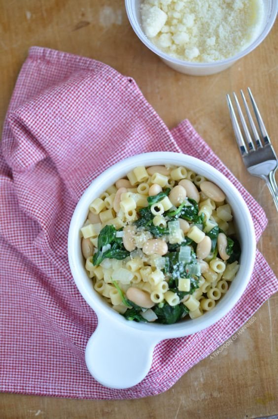 Spinach and White Bean with Ditalini | A Teaspoon of Happiness
