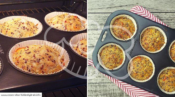 Low Carb Rezept für leckere Quinoa Pizza-Muffins. Wenig Kohlenhydrate und einfach zum Nachkochen. Super für Diät/zum Abnehmen.