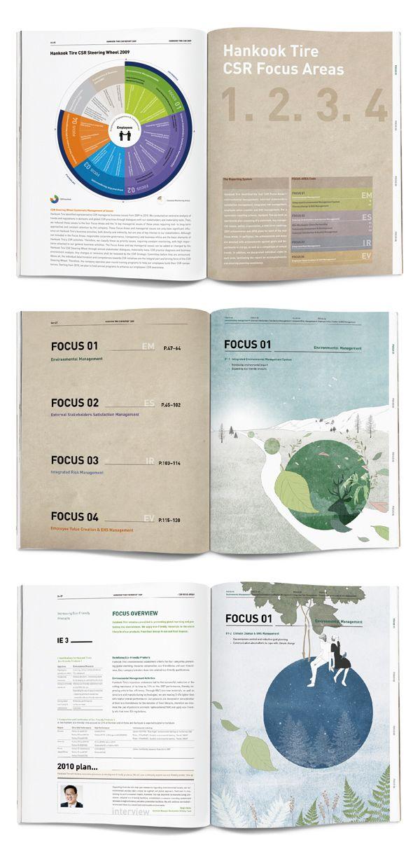 hankook tire CSR report 2009 by jungah lee, via Behance