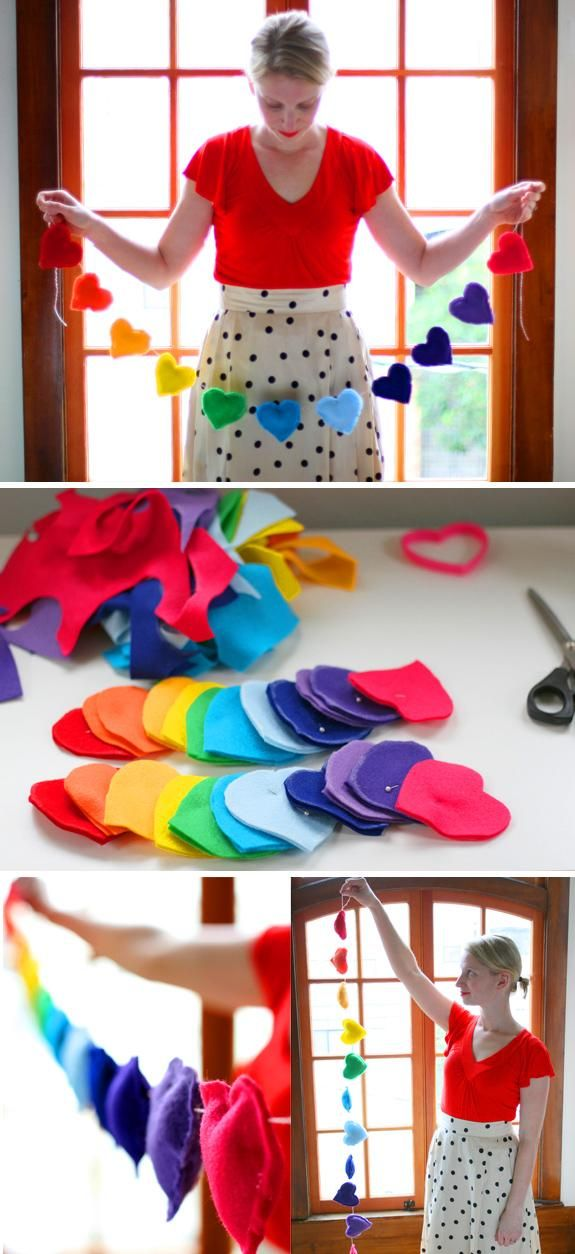 Crafting with Felts : DIY felt Rainbow Heart Banner