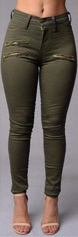 Army Green Nap Zipper Slim Pencil Pants