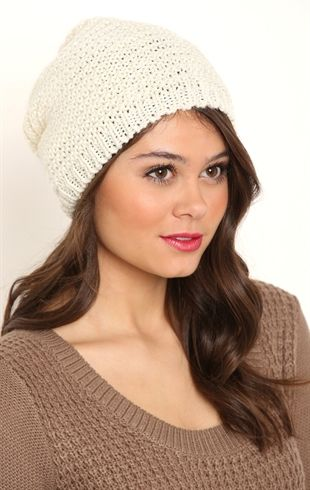 Open Knit Metallic Slouchy Hat with Sequins