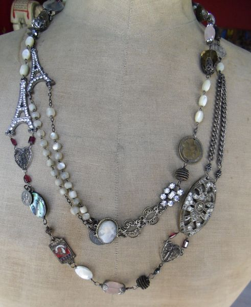 Christine Wallace Vintage Jewelry ... LOVE this look!...its a collage of bits and pieces of of old jewelry!