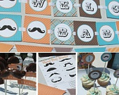 Mustache Baby Shower Decorations for boys Aqua Red Vintage Printable Little Man. $20.00, via Etsy.g