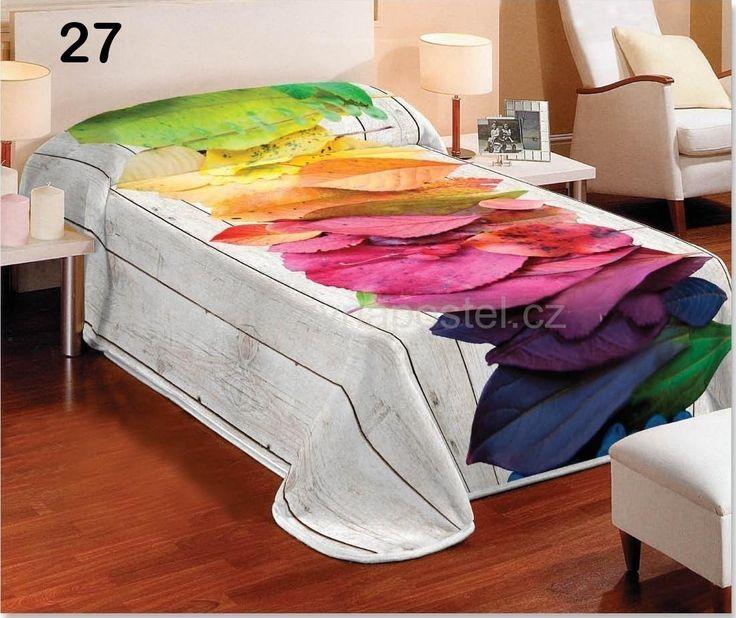 Bílé dětské deky na postel s barevným listím