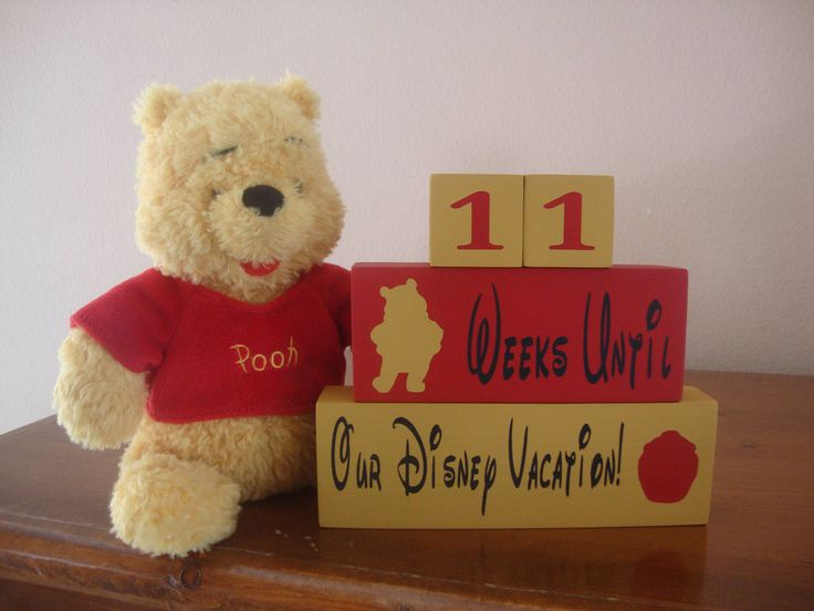 Disney Winnie the Pooh countdown REVERSIBLE blocks, Days Until/Weeks until vacation countdown, Disneyland, Mickey Mouse, Family decor by DeannasCraftCottage on Etsy