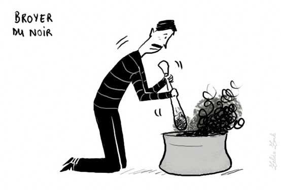 Las expresiones de la lengua francesa © 2009 - Illustración : Zelda Zonk http://www.tv5.org/TV5Site/publication/galerie-236-11-Broyer_du_noir_etre_deprime_triste.htm