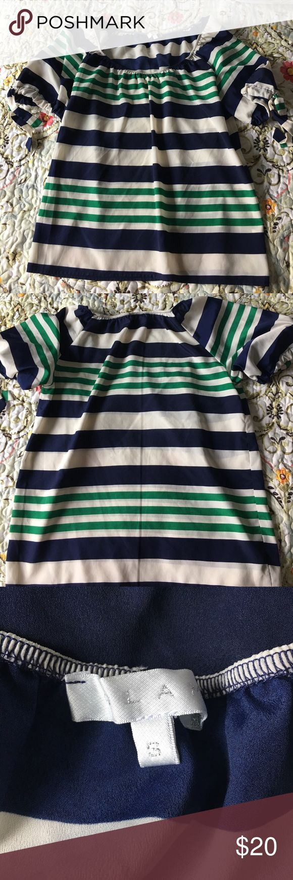 Nautical Blouse Blue and Green striped Blouse with ties on sleeves. Elastic neck to wear either as scoop-neck or off the shoulder. Open to offers! GLAM Tops Blouses