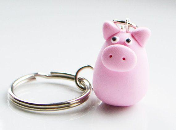 ~Pig Keyring Keychain, Fimo, Polymer Clay~