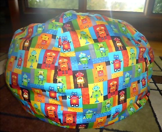 Robot Bean Bag Chair Cover Blocks Blue Yellow By CopperBugCompany