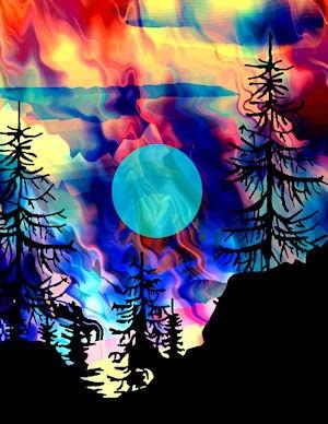 Aurora Borealis fabric art