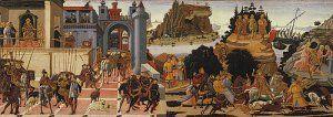 Paneles de la serie dedicada a Los Argonautas por B. Di Antonio (1446-1516)  Viaje de ida. De izquierda a derecha: Llegada de Jasón a la corte de Pelias, consulta al centauro Quirón, partida de la nave Argos