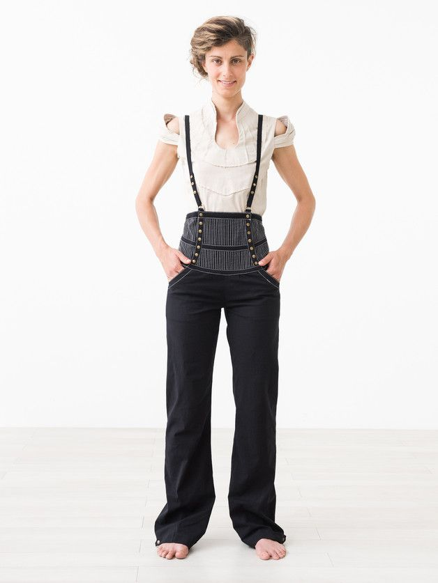 Trousers – PinMeUp ::: High Waist Corset Suspender Pants – a unique product by AnnaKemp on DaWanda