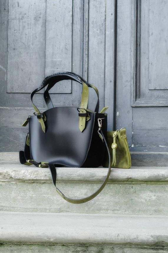 61b534541ab300 Black Lime Office Tote Handmade Leather Handbag with Clutch set Kuferek  smaller Strong Roomy Purse zippered Tote Long adjustable handles Bag