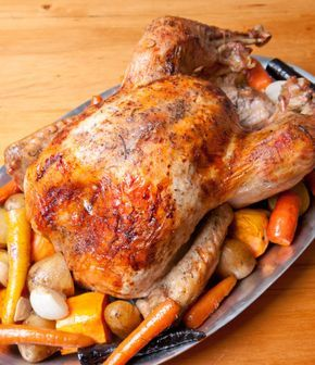 CLASSIC ROAST TURKEY (12-lb serves 10-12)... 1 12-lb Turkey (thawed, if frozen), 2 wedge-cut White Onions, 2 ribs chopped Celery, 2 chopped Carrots, 6 sprigs Rosemary, 6 sprigs Thyme, Extra Virgin Olive Oil, Salt and Pepper to taste, Carrots, Onions, Sweet Potatoes, Potatoes (opt)... *Cooking time depends on size of turkey; generally 13-15 min/lb)...