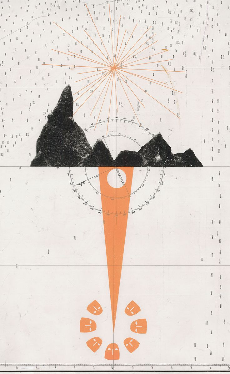 New Land, 2012.13″ x 20.9″ / Screenprint on found paper / David Lemm / The Navigation of Physical and Metaphysical Space