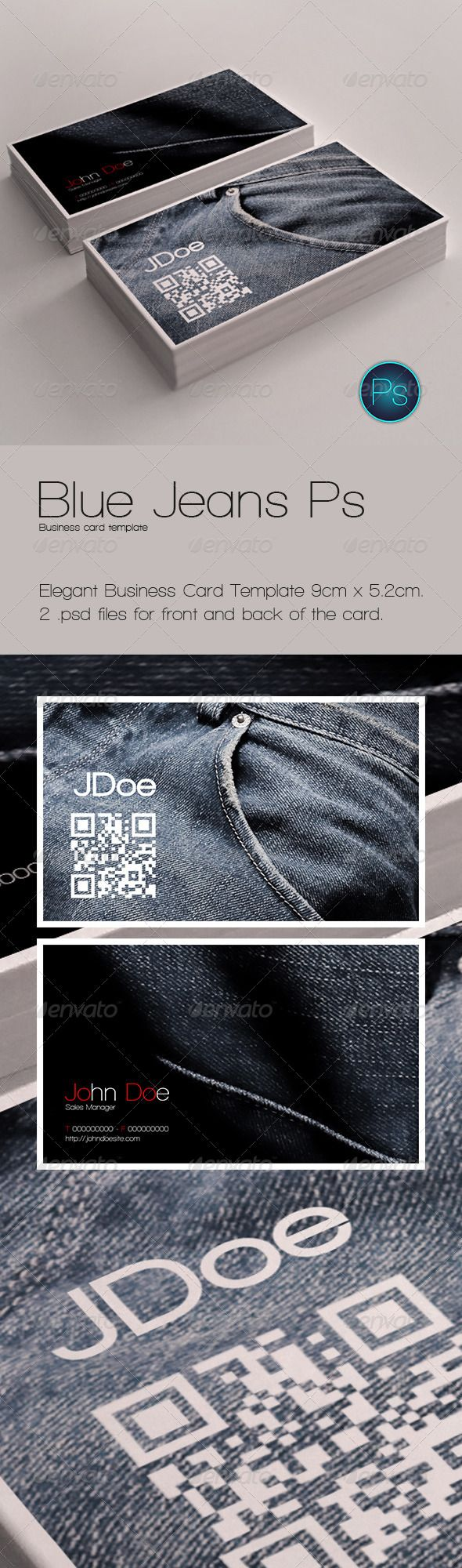 Blue Jeans Ps - Business Card Template