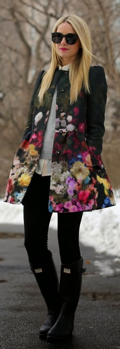 Fall fashion | Valentino floral coat and rain boots