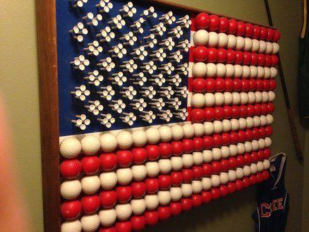 Golf Balls and Tees as USA Flag