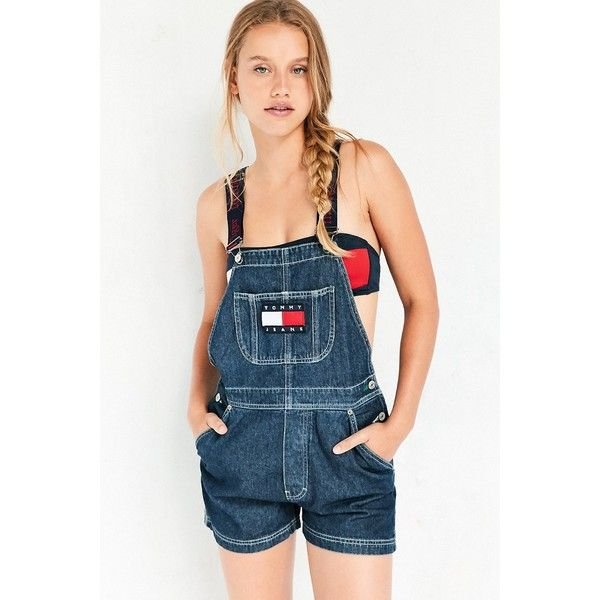 Tommy Jeans For UO 90s Shortall Overall ($159) ❤ liked on Polyvore featuring jumpsuits, blue jumpsuit, blue denim overalls, tommy hilfiger, tommy hilfiger overalls and denim shorts overalls