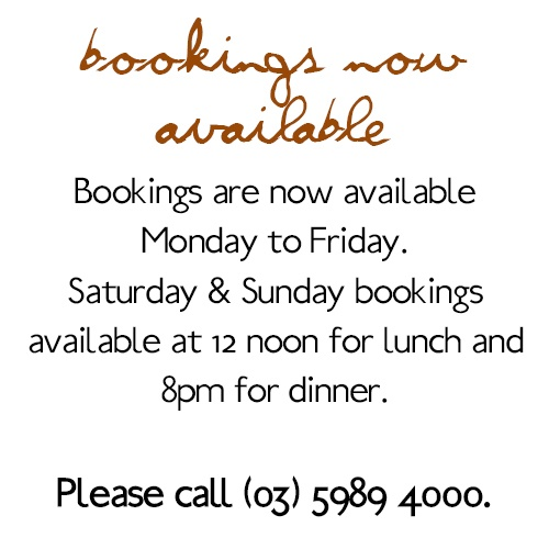 Bookings now available at Red Hill Epicurean!