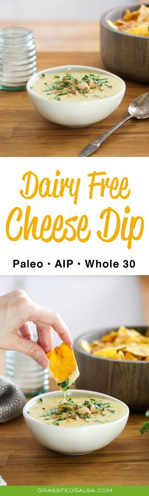 This Dairy Free Cheese Dip is the perfect party food whether you're following Whole 30, AIP, or Paleo. Personally, I love topping this Cheese Dip with sautéed onions, cilantro, chives, and bacon, and using tostones to dip.