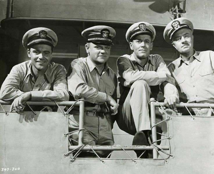 Jack Lemmon, Jimmy Cagney, Henry Fonda and William Powell in the 1955 hit movie Mr. Roberts.