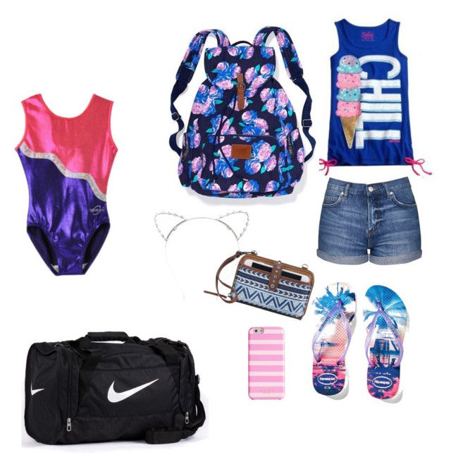 """gymnastics  or school"" by strausssabrinaj ❤ liked on Polyvore featuring beauty, Havaianas, Topshop, NIKE, Kate Spade, Lipsy and The Sak"