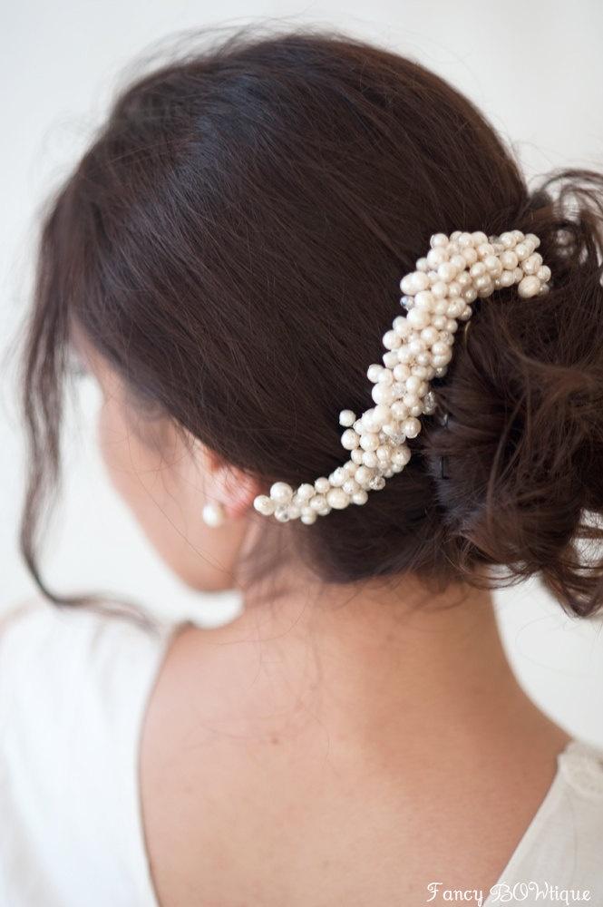 Wedding hair accessory,Bridal hair comb Pearl hair, Bridal fascinator, hair piece headpiece Silver comb fascinator for bride -Lizavetta