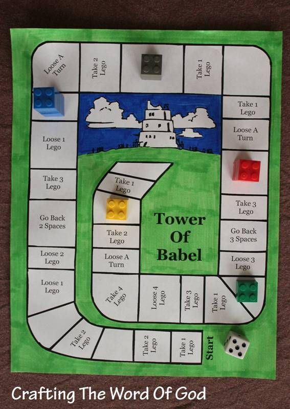 This simple, but fun game will serve as a great reminder of the biblical story of the Tower Of Babel. Instructions Print the template. (Template) Color the page. Get some legos, a dice and have fun...
