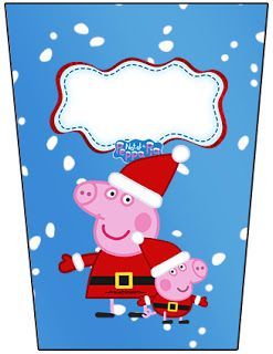 Peppa Pig in Christmas: Free Printable Candy Bar Labels.