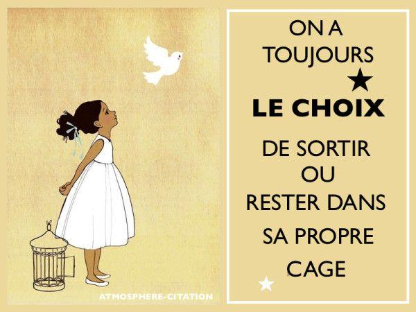 Le choix vous appartiendra toujours On a toujours le choix de sortir ou rester de sa propre cage