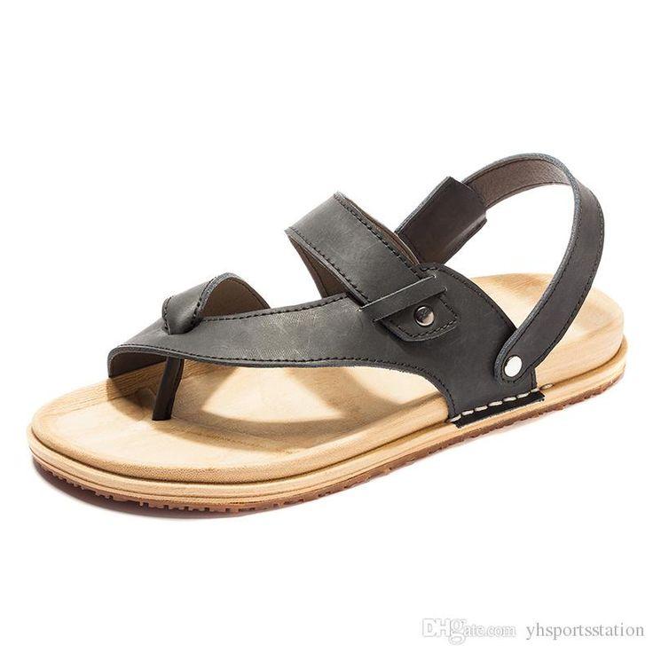 2016 fashinal sandalias para hombre TBA 5966 zapatos de cuero, zapatos de hombres de la playa marrón negro / marrón / oscuro, envío de la gota