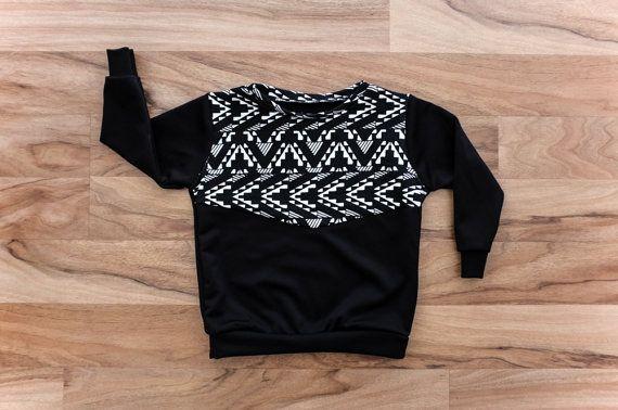 Kids Black Sweater / Black and White / Baby Black by littletrojan