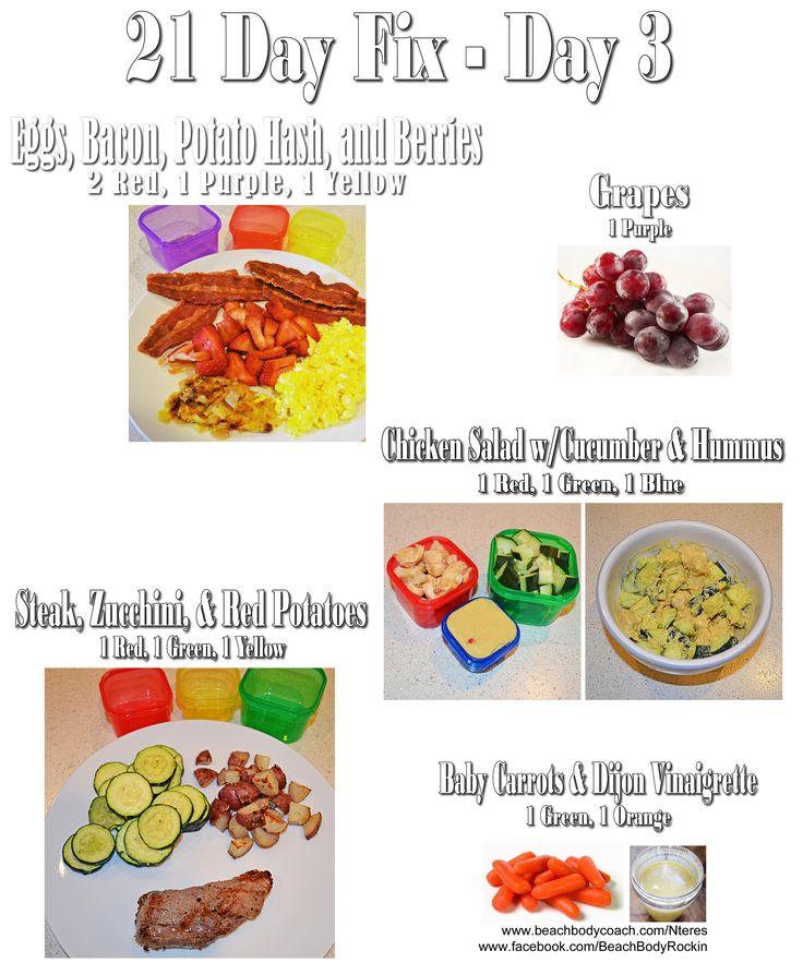 21 Day Fix 1200-1499 Calories Meal Plan for One Day www.beachbodycoach.com/Nteres www.facebook.com/BeachBodyRockin