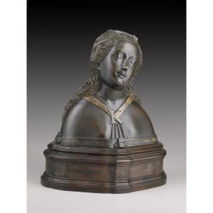 Hans Multscher (Reichenhofen presso Memmingen, Algovia, 1400 circa - Ulma 1467): Reliquary Bust of a Female Saint, c.1460  bronze